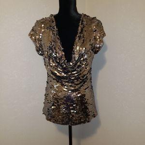 INC Golden Brown Sequins Blouse Sz Lrg Like New!!!